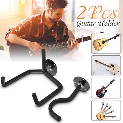 2X Horizontal Separated Guitar Wall Mount Hanger Stand Holder Hook Display Bass ()