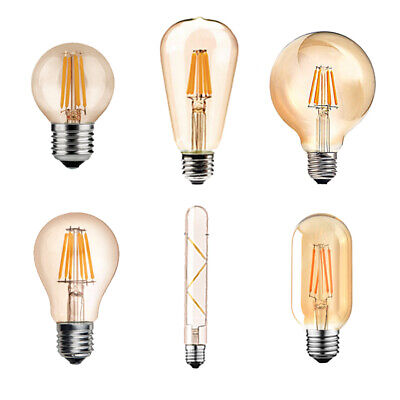 Vintage Rustic LED Filament Light Bulb Decorative Screw Edison Globe E14 E27 UK