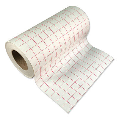 """1 roll-12""""x5' Transfer Paper-lined w/Red Grid-Adhesive Vinyl-Craft-Hobby-Cutter"""