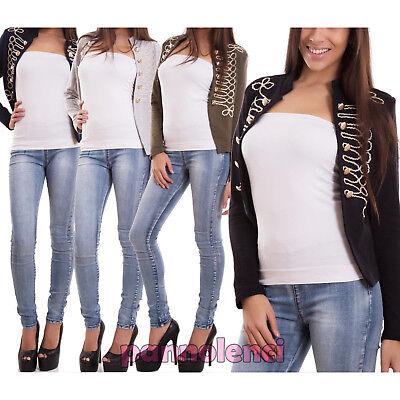 Damenjacke ohne Schließen Militär Lange Ärmel Uniform Buttons Neu Cj-2015 Button Damen Jacken
