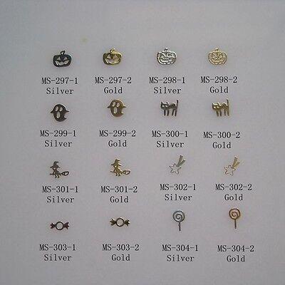 100pcs Cute Halloween Nail Art Metal Sticker Nail Art Decoration Sticker