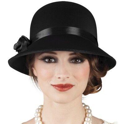 20er 30er Cloche Charleston Damen Hut Kostüm Babylon Motto Party  - schwarz -