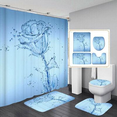 3tlg Badezimmer Set Duschvorhang badvorleger Duschmatte Deckelbezug Badvorhang