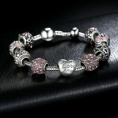 New European 925 Silver Charms Bracelet with Pink CZ beads For Women Christmas - Beaded Charm Bracelets