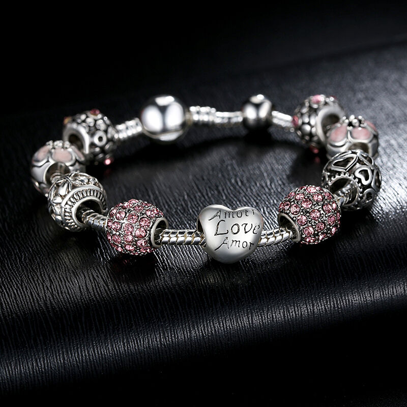 New European 925 Silver Charms Bracelet with Pink CZ beads F