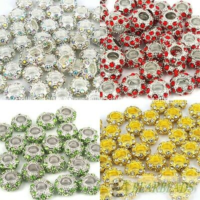 Big Hole Crystal Rhinestone Pave Rondelle Spacer Beads Fit European Charm Pick Rondelle Spacer Beads