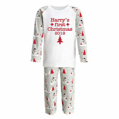 Personalised Baby's 1st First Christmas pyjamas PJs, 6-12 months,Snowman print