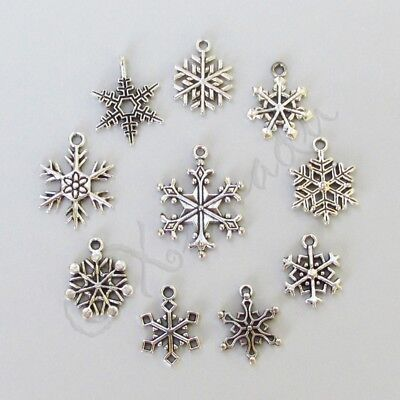 Snowflake Antiqued Silver Plated Winter Charms 10PC Mix CM0236 - 10, 20 Or (10 Snowflake Charms)