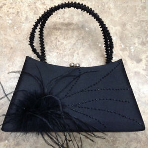Elegant Black Satin Evening Bag - BRAND NEW