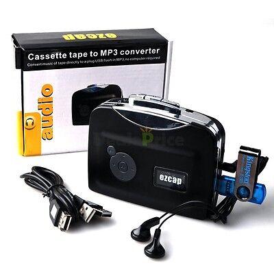 New USB EzCap230 Casset Tape to MP3 Converter Capture Audio Music Player Blk US