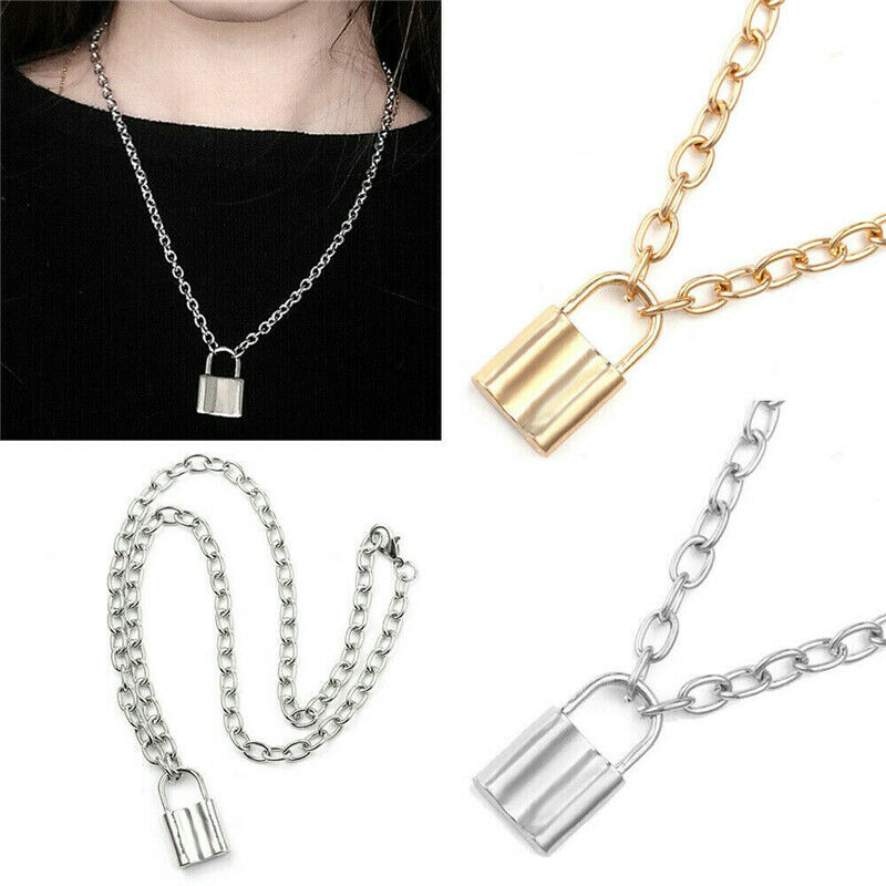 Alloy Lock Pendant Necklace Charms Padlock Long Chain Choker Jewelry Fashion 4