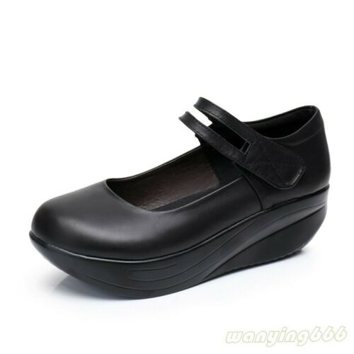 Women/'s Mary Jane Leather Nursing Shoes Round Toe Wedge Heels plus size pumps