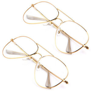 Unisex Gold Big Round Metal Frame Clear lens Vintage Retro Geek Fashion Glasses