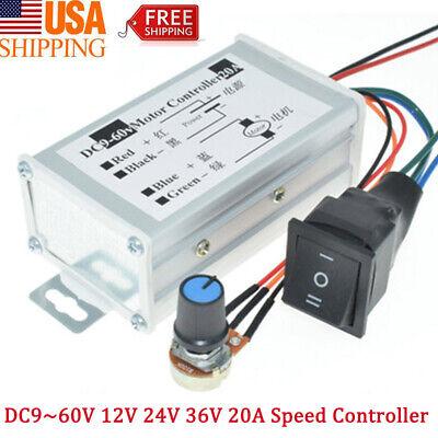9-60v 12v 24v 36v 48v 20a Pwm Dc Motor Speed Controller Cw Ccw Reversible Switch