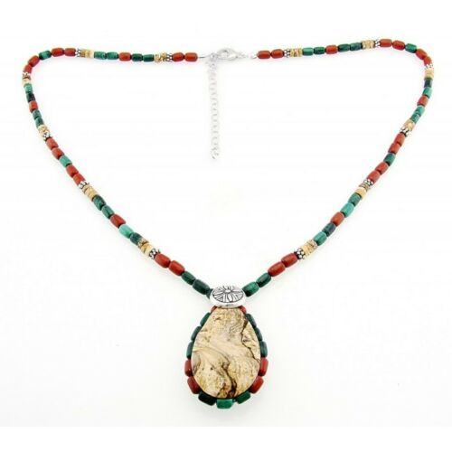 Southwestern Gemstone And Sterling Silver Necklace With J...