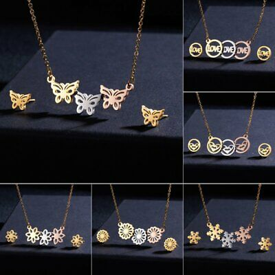 Gold Stainless Steel Butterfly Jewelry Set Women Pendant Necklace Earrings Gift ()