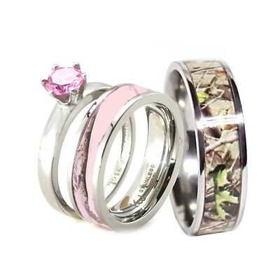 Camo Ring Set (HIS & HER Pink Camo Band Engagement Wedding Ring Set Titanium & Stainless Steel)