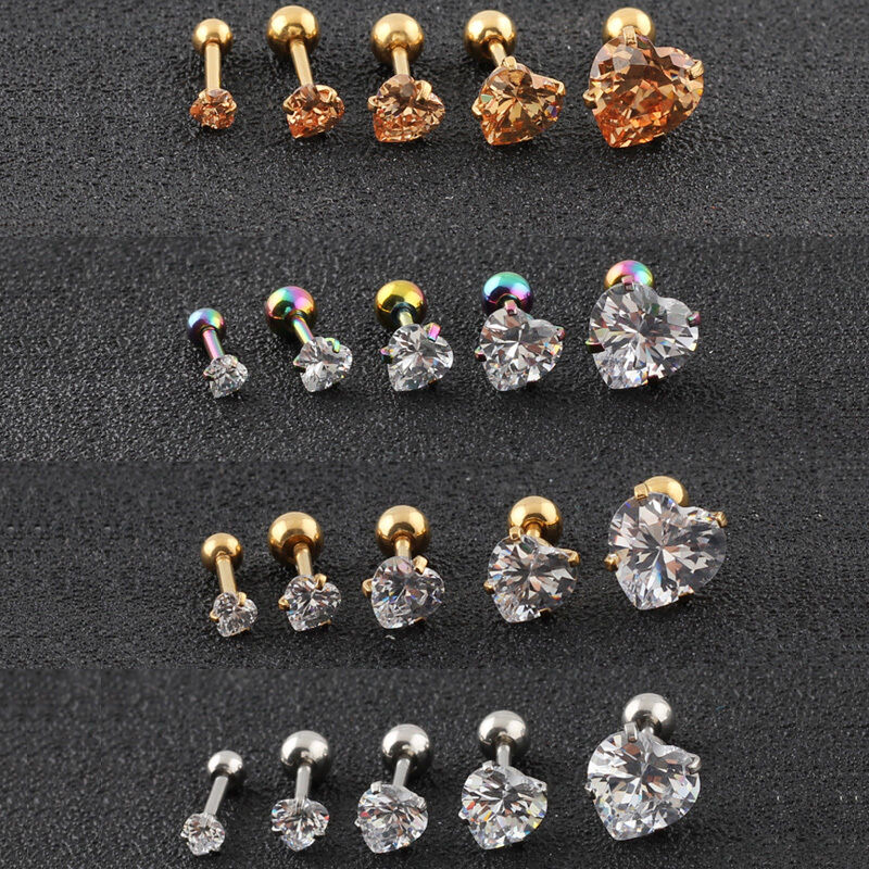 1 Pair Titanium Steel Prong Cartilage Piercing Ear Studs Earrings Jewelry  AZ