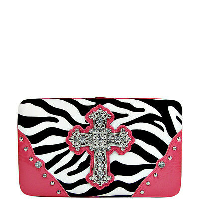 HOT PINK ZEBRA PRINT CROSS FLAT THICK WALLET WESTERN BLING CREDIT CARD HOLDER