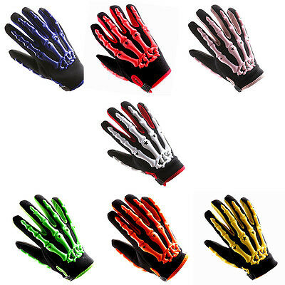 Motorcycle Motocross Gloves MX BMX Bike Skeleton Black Blue Green Red Pink White - Pink Skeleton Gloves