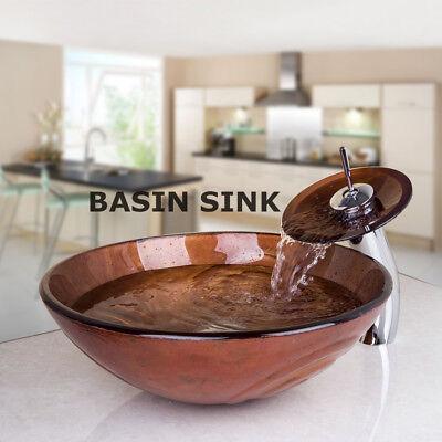 Bathroom Artistic Glass Bowl Vessel Sink W/Chrome Faucet Pop-up Drain Combo Set