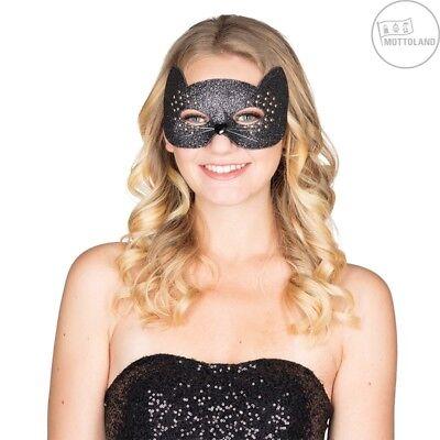 IAL 64003 Kitty Mieze Katze Maske Augenmaske Domino schwarz Glitter Halloween