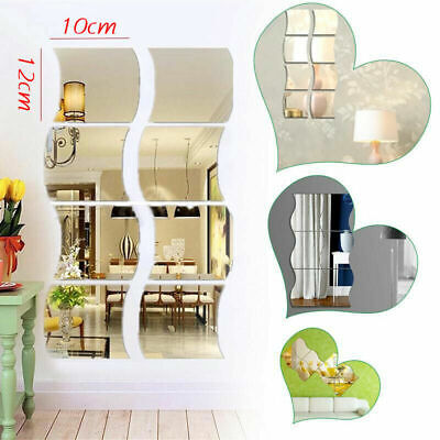 Home Decoration - UK Glass Mirror Tiles Wall Sticker Square Self Adhesive Stick On Art Home Decor