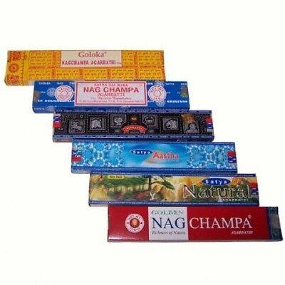 (10,93€/100g) Räucherstäbchen 6er Set-Satya Nag Champa Aastha Goloka Natural Räu