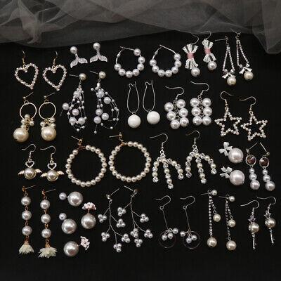 1 Pair Fashion Rhinestone Crystal Pearl Earrings Set Women Ear Stud Jewelry 1 Set Pearl Earrings