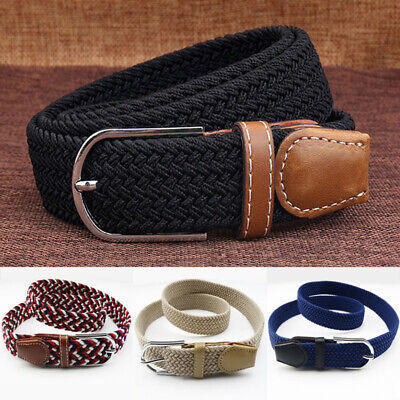 Men Women Covered Buckle Woven Elastic Fabric Stretch Belt Casual Canvas Belts Cloth Covered Stretch Belt