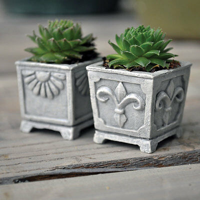 Miniature Dollhouse FAIRY GARDEN ~ Square Planter Set Of 2 ~ NEW