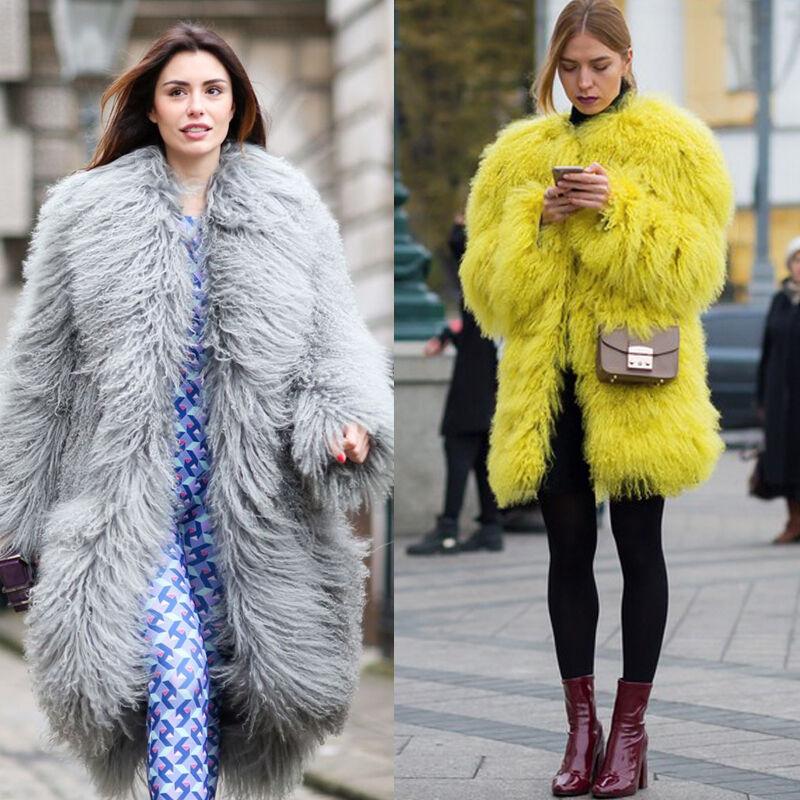 Women/'s 100/% Real MONGOLIAN Lamb Curly Fur Long Coat Jacket Elegant Parka New
