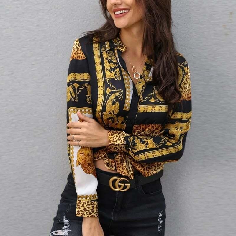 Maglia da donna gialla oro bianca nera maglietta moda casual autunno camicia