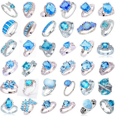Aquamarine Jewelry - Sky Color 925 Silver Aquamarine Gemstone Rings Wedding Engagement Jewelry Gifts
