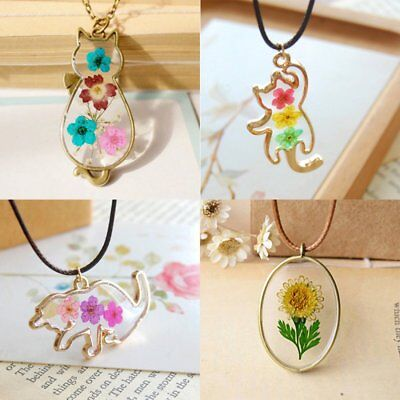 New Natural Real Dried Flower Glass Pendant Necklace Women Girl Lucky Jewelry - Girl Necklace