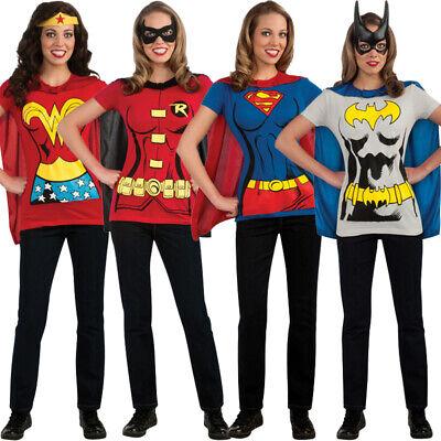 Adult DC Superhero T Shirt & Cape Women's Comic Book Tee Shirt Justice - Kostüm Adult T Shirt Tee