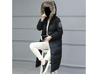 Winter Women Ladies Long Quilted Jacket Hooded Coat Parka Padded Outwear Zipper