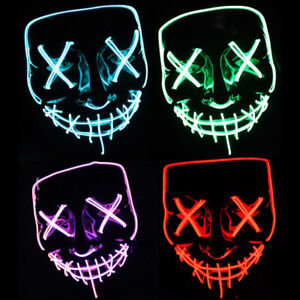 LED Purge Mask NEW Halloween Green Blue Red Purple & more - $25