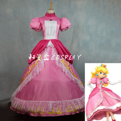 Super Mario Princess Peach DRESS Adult Costume Bros and Luigi Cosplay - Princess And Mario Costume