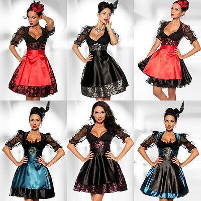 Damen Dirndl Wiesn Outfit Oktoberfest Kostüm Minikleid Karneval Tracht #0165 (Oktoberfest Damen Kostüm)