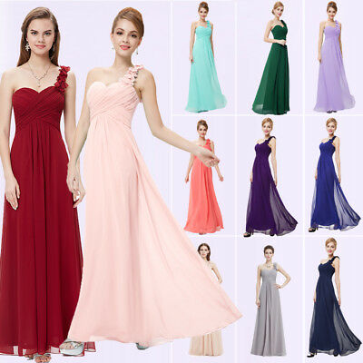 - Women Long Chiffon A-line Bridesmaid Wedding Formal Cocktail Dress Evening Gown