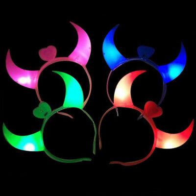 LED Teufel Horn Licht Stirnband blinkende für Halloween Weihnachtsfeier Dekor