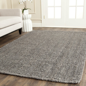 Hand-Tufted Jute Gray Area Rug - 4' square