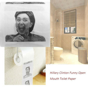 1Pcs Hillary Clinton Printed Open Mouth Toilet Paper Tissue Funny Roll Gifts iSH