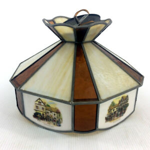 Currier & Ives Ceiling Light Fixture Complete Stained Glass