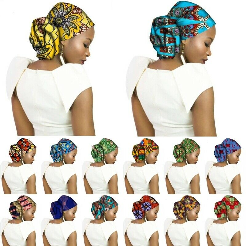 African Cotton Print Bandana Scarf Women Turban Headwear Wra
