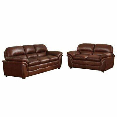 Baxton Studio Redding 2 Piece Leather Sofa Set in Cognac Brown