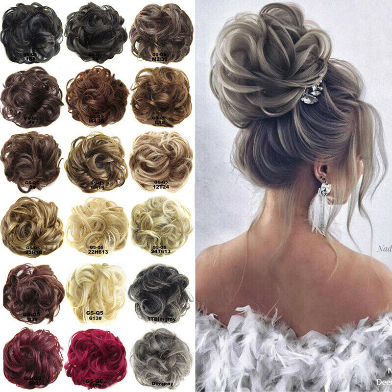 Ponytail Messy Bun Updo Wavy Scrunchie Hair Extensions Hairp