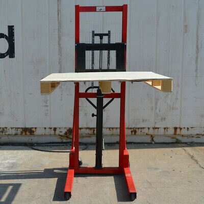Manual Pallet Stacker Hand Forklift 2200lbs Hydraulic Manual Lifter Straddle New
