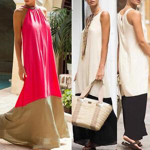 BOHO-elegante-Mujer-Holgado-Con-junturas-sin-espalda-Maxi-LARGO-CHIFFON